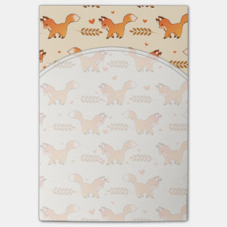 Cute Red Fox and Hearts Wreath Pattern Post-it® Notes