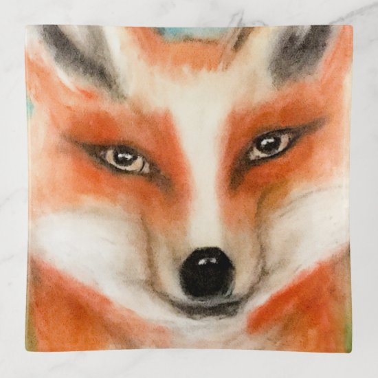 Cute Red Fox Blue Green Woodland Animal Whimsical Trinket Trays