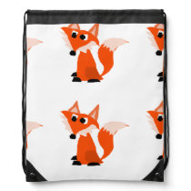 Cute Red Fox Cartoon Drawstring Bag