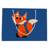 Cute Red Fox Cartoon Large Gift Bag