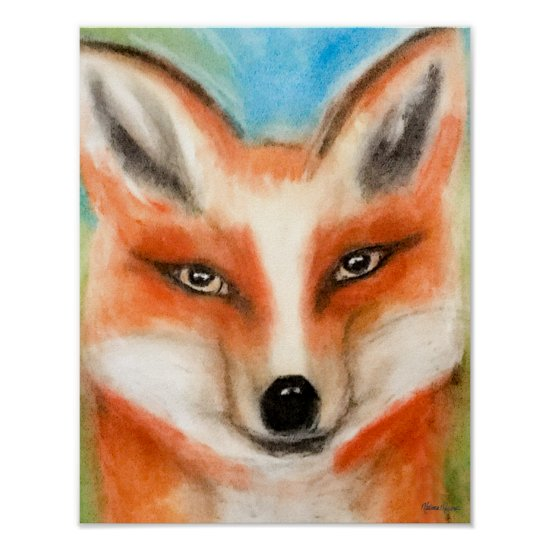 Cute Red Fox Chalk Pastel Art Whimsical Woodland Poster