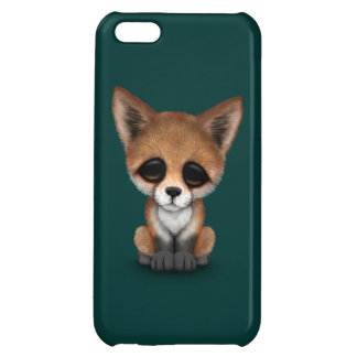 Cute Red Fox Cub on Teal Blue Cover For iPhone 5C