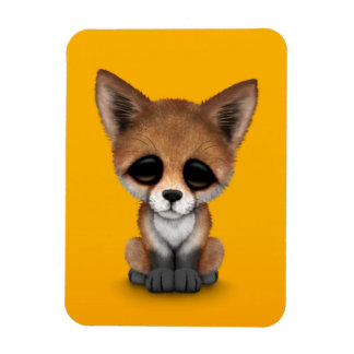 Cute Red Fox Cub on Yellow Magnet