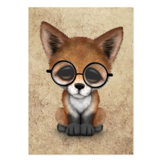 Cute Red Fox Cub Wearing Glasses on Aged Texture Large Business Cards (Pack Of 100)