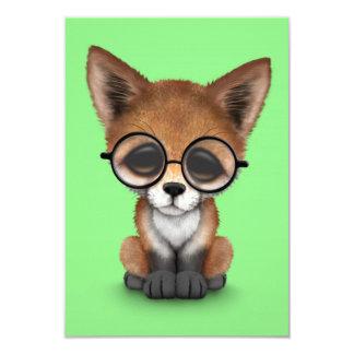 Cute Red Fox Cub Wearing Glasses on Green Invitation