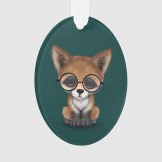 Cute Red Fox Cub Wearing Glasses on Teal Blue Ornament