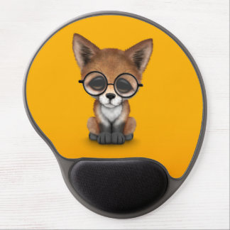 Cute Red Fox Cub Wearing Glasses on Yellow Gel Mouse Pad