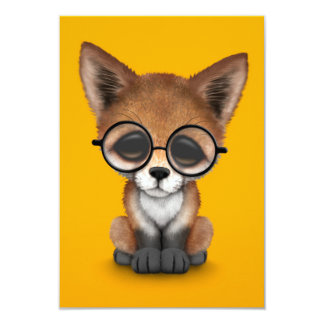 Cute Red Fox Cub Wearing Glasses on Yellow Invites