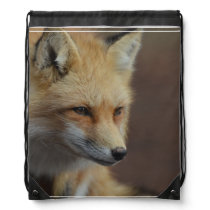 Cute Red Fox Drawstring Backpack