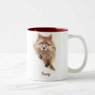Cute Red Fox, Foxy Wildlife, Animal, Nature Two-Tone Coffee Mug