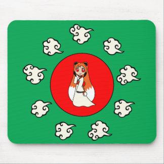 Cute Red Fox Girl (Kitsune) Mouse Pad