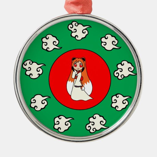 Cute Red Fox Girl (Kitsune) Round Metal Christmas Ornament