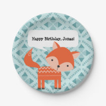 Cute Red Fox Personalized Party Plates