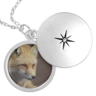 Cute Red Fox Round Locket Necklace