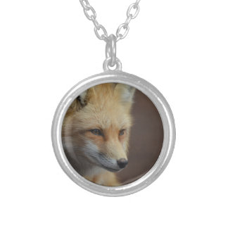 Cute Red Fox Round Pendant Necklace