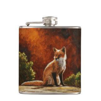 Cute Red Fox Sitting In The Sun Flask