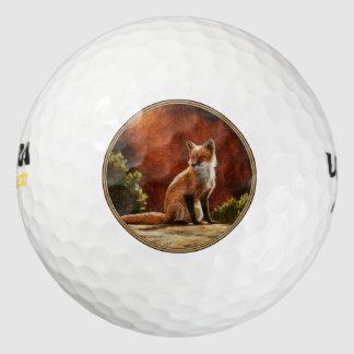 Cute Red Fox Sitting In The Sun Golf Balls