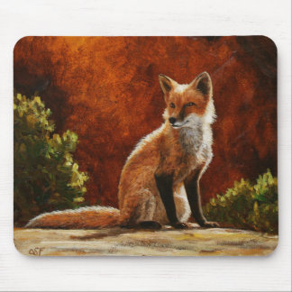 Cute Red Fox Sitting In The Sun Mouse Pad