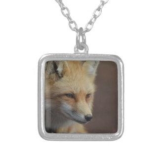 Cute Red Fox Square Pendant Necklace