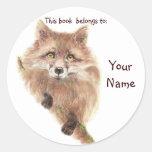 Cute Red Fox, This book belongs Bookplate Sticker