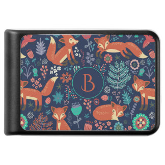 Cute Red Foxes And Colorful Flowers Pattern Power Bank