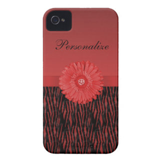 Cute red gerbera daisy  on zebra pattern iPhone 4 covers