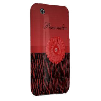 Cute red gerbera daisy  on zebra pattern Case-Mate iPhone 3 cases