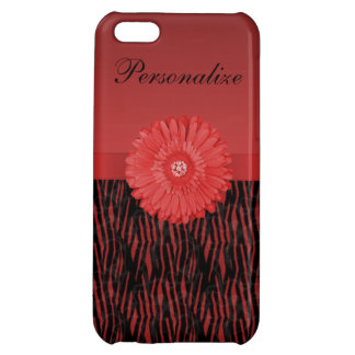 Cute red gerbera daisy on zebra pattern iPhone 5C covers