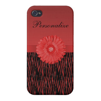 Cute red gerbera daisy  on zebra pattern iPhone 4/4S cover