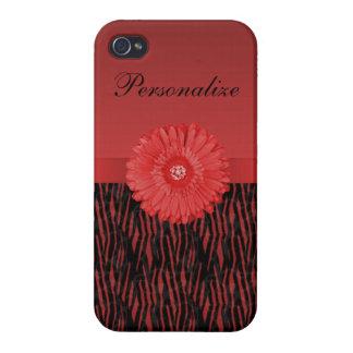 Cute red gerbera daisy  on zebra pattern iPhone 4/4S cover
