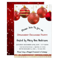 Cute Red & Gold Sparkle Ornament Exchange Party Invitation