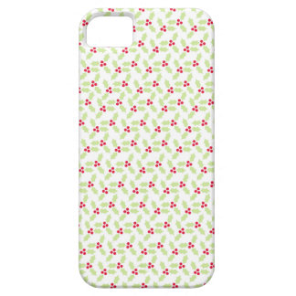 Cute red green holly berry pattern iphone 5 case