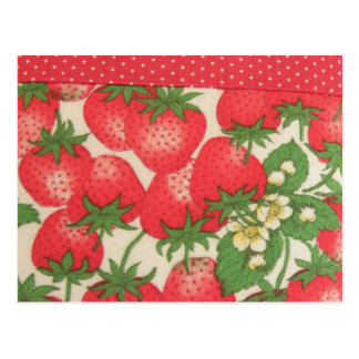 Cute Red Green Polka Dots Strawberries Fruit Postcard