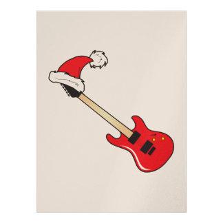 Cute Red Guitar Santa Hat Invitation Stamp Labels
