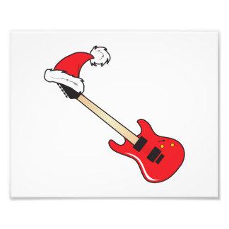 Cute Red Guitar Santa Hat Invitation Stamp Labels Photo Print