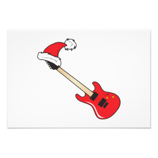 Cute Red Guitar Santa Hat Mouse Pad Clock Pillows Photographic Print