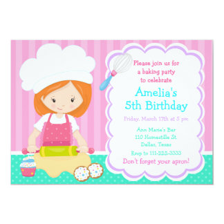 Cute Red Hair Girl Baking Birthday Party Card