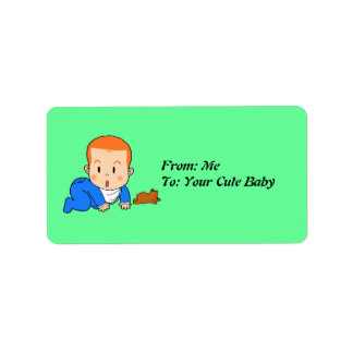 Cute red-haired baby label