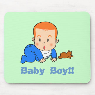 Cute red-haired baby mouse pad