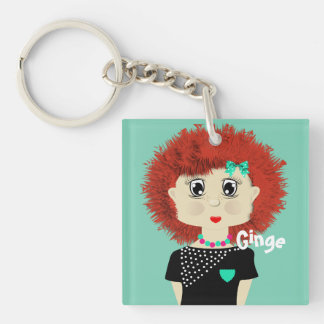 Cute Red Haired Cartoon Girl Keychain