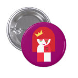 Cute Red Head Warrior Queen Dressed For Battle Pinback Button
