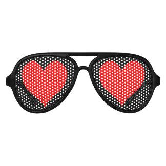 Cute Red Heart Aviator Sunglasses