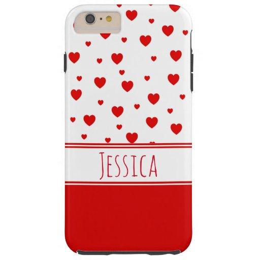 Cute Red Heart Custom Name Girly Chic Tough iPhone 6 Plus Case
