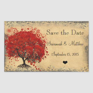 Cute Red Heart Leaf Tree Weddings Rectangular Sticker