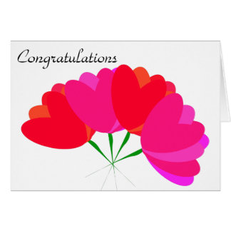 Cute red heart shaped flowers card