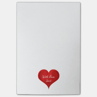Cute Red Heart With Love Typography Valentine Name Post-it Notes