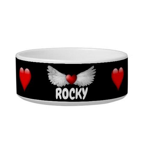 Cute Red Hearts Angel Wings Pet Bowl