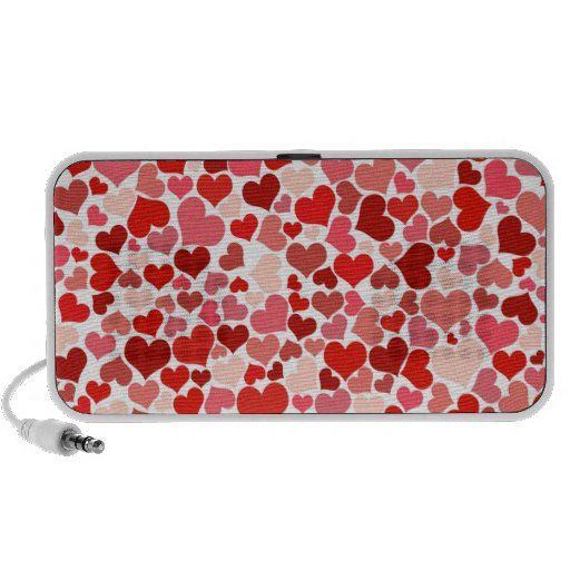 Cute Red Hearts Background iPod Speaker