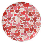 Cute Red Hearts Background Party Plate
