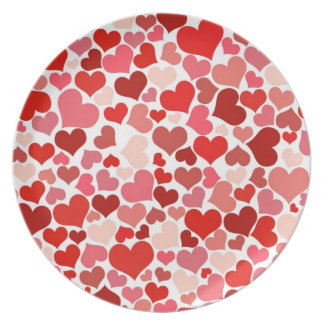 Cute Red Hearts Background Party Plates